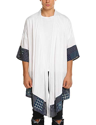 COOFANDY Men's Cardigan Lightweight Cotton Sweater Kimono Style Cloak Open Front Cape,White,Large by COOFANDY
