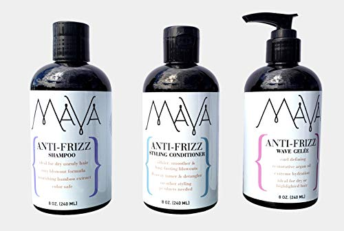 Mava Anti-Frizz Shampoo, Conditioner & Wave Gelèe Bundle, Argan Oil, Hemp Oil, Keratin, Oat Protein, Frizz Management System. Wear It Straight or Curly