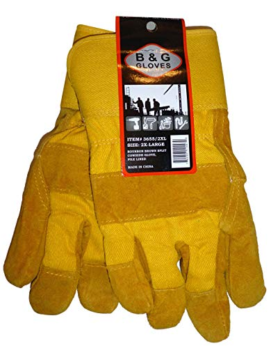 Mens B&G Heavy Work Insulated Fleece Pile Lined Leather Winter Gloves XXL 2XL -