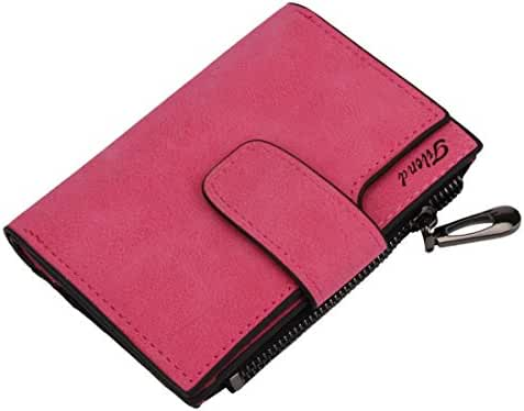 PU Leather Bifold Wallet,Hemlock Women Grind Magic Card Wallet Purse (Hot pink)