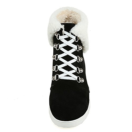 BalaMasa Collar Fur Weather Suede Boots Black Womens Bandage Cold Imitated r4xqcrAOR