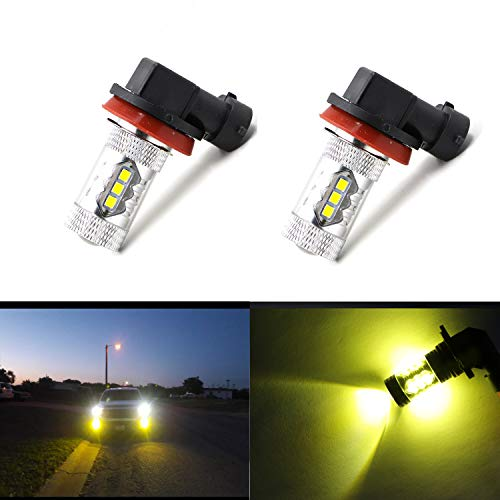 - Replacement Super Bright 2000 Lumens High Power 3030-SMD LED H11 H11LL H8LL H8 H16 LED Bulb Yellow Fog Lights Lamp Bulbs w/Projector