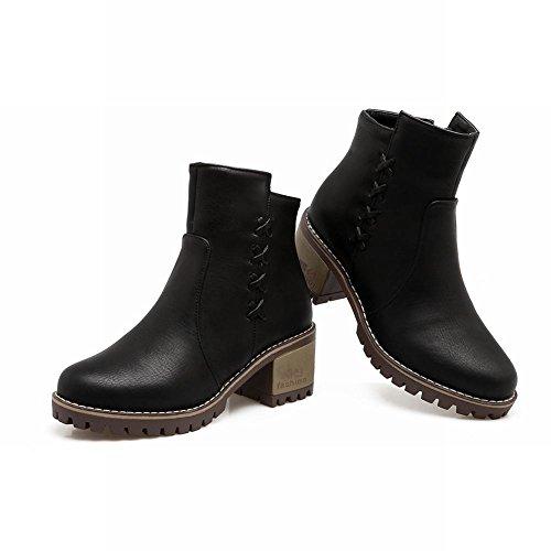 Shoes Mid Stiefel Office Reißverschlussplattform Schwarz Kurze Heel Mee Damen UFtqdww