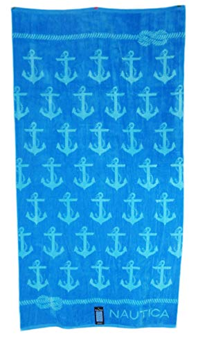 Nautica 36 x 68 Cyan Anchors on Blue Background with Nautical Rope Border Edges Beach Towel ()
