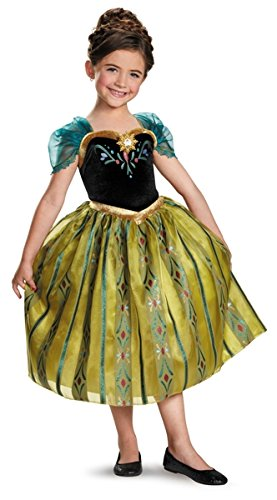 [Disney's Frozen Anna Coronation Gown Deluxe Girls Costume, X-Small/3T-4T] (Disney Frozen Anna)