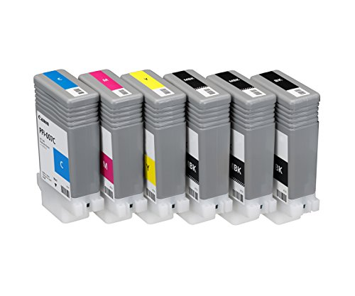 Canon PFI-007 Set of 6 90ml Ink. 2 Matte Black, 1 each Cyan, Magenta, Yellow and Black by CES Imaging