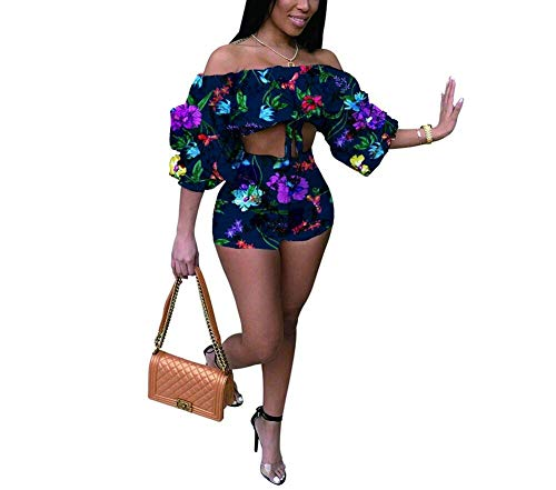 Women's 2 Piece Off Shoulder Ruffled Print Floral Smocked Crop Top and Shorts Set Navyblue