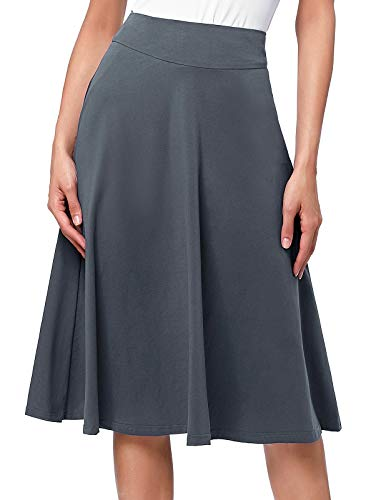 - Kate Kasin High Waist Elastic A-Line Flared Midi Skirt for Women (L,Dark Grey)