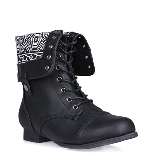 Fold Over Flat Boot - Twisted Women's Trooper Wide Calf Aztec Print Fold Over Military Boot - BLACK/WHITE AZTEC, Size 8W