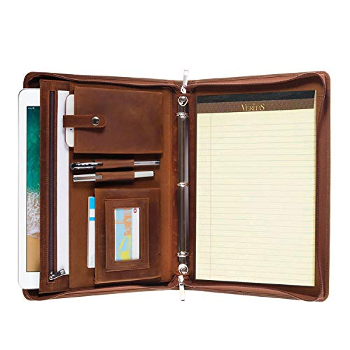 - Professional Leather Business Padfolio Portfolio Case, 3 Ring Binder,Zippered Business Document Organizer Folder Tablet Pad Folio,with Letter Size Notepad (Brown)