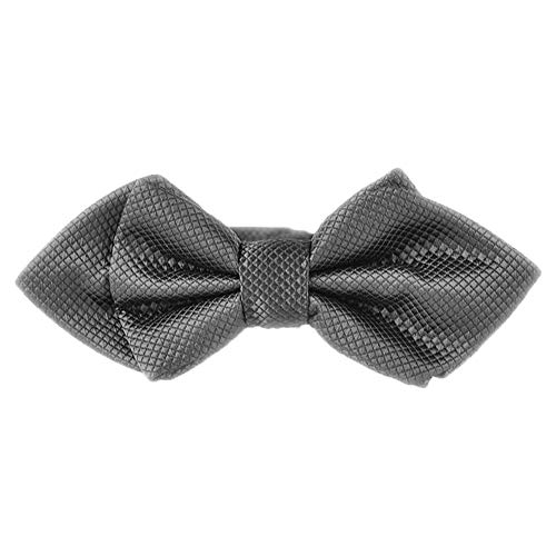 (Flairs New York Gentleman's Diamond Pointed Pre-Tied Bow Tie (Carbon Grey [Diamond Print]))