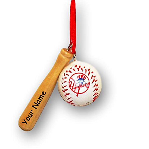 New York Yankees Christmas Ornaments - Personalized Kurt Adler Officially Licensed Major League Baseball New York Yankees Baseball and Baseball Bat Christmas Tree Hanging Ornament with Name
