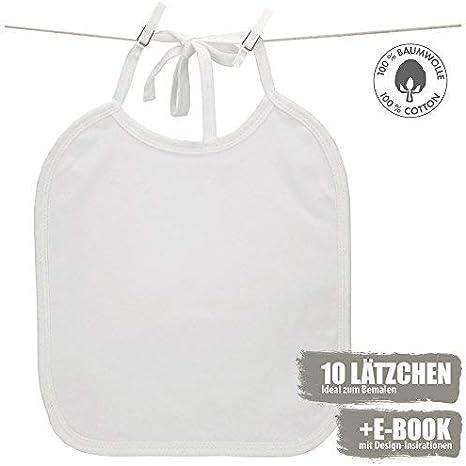 Color blanco babero para pintar | 10 piezas + Ebook | 100% algodón | ideal para) y pintura | regalo perfecto para un bebé ducha fiesta: Amazon.es: Bebé