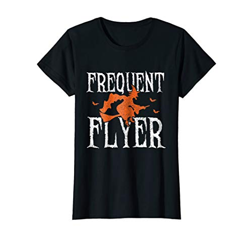 Womens Frequent Flyer T-Shirt Witch Halloween Party Funny