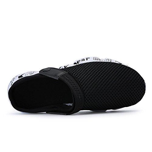 VILOCY Mens Summer Breathable Mesh Closed Toe Slide Slippers Flat Sport Beach Sandal Black aM4QrVkfa