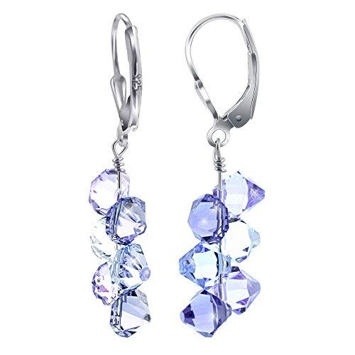 Shimmering Swarovski Elements Crystal Leverback Handmade Drop Earrings with secure Sterling Silver Leverback