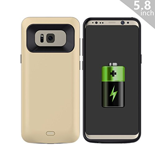 COOFUN Samsung Galaxy S8 Charger Battery Case, 5000mAh Ultra Slim Rechargeable Portable External Backup Battery Pack-Charger Cover-Protective Case Power Bank Case (Gold)