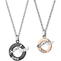 Morenitor Couples Gifts, Couple Necklaces Set Stainless Steel Puzzle Piece Pendant Necklace for His and Hers Jewelry Gifts
