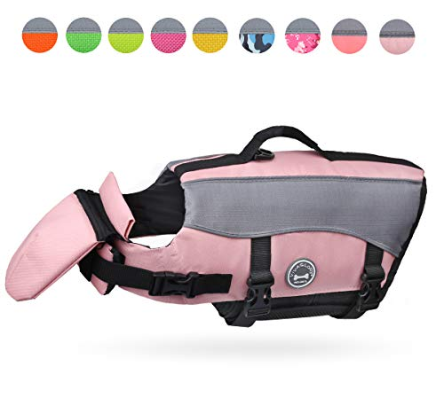VIVAGLORY Dog Life Jackets, Pet Life Vest Lifesaver Dog Life Preserver with Extra Padding for Dogs, Sakura Pink, M from VIVAGLORY