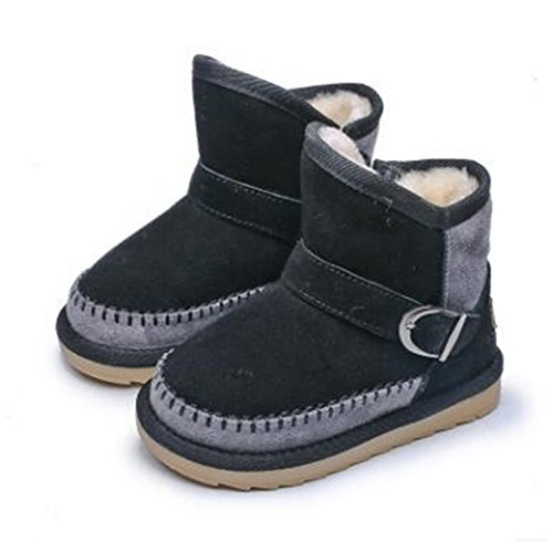 Baqijian Thicker Warm Children Snow Boots Boys/Girls Zipper Boots Baby Cotton Shoes Kids Boy/Girl Black - Mk Boots Baby