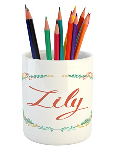 Lily Pencil Pen Holder by Ambesonne, Colorful Wreath Design with Foliage Leaf Celebratory Girl Name Classic Nature Pattern, Printed Ceramic Pencil Pen Holder for Desk Office Accessory, (Classic Name Bar)