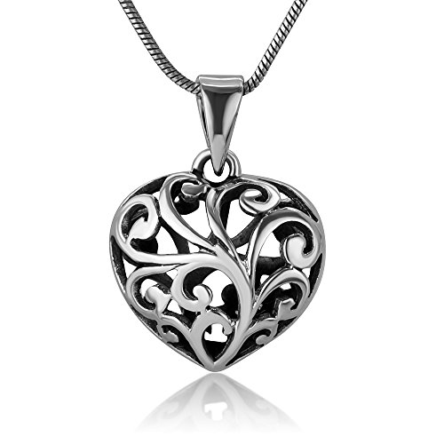 Open Filigree Heart - Chuvora 925 Oxidized Sterling Silver Open Filigree Heart Puffed 3-D Small Pendant Necklace, 18 inches