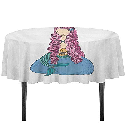 kangkaishi Mermaid Easy Care Leakproof and Durable Tablecloth Sweet Mythological Girl with a Shell and Long Pink Hair Fantastic Sea Character Outdoor Picnic D55.11 Inch Multicolor]()