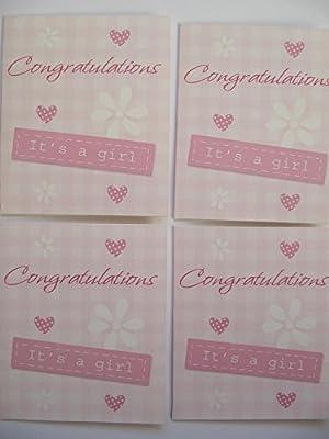 Pack of 4 maravilloso colorido Congratulations su una niña nuevo ...