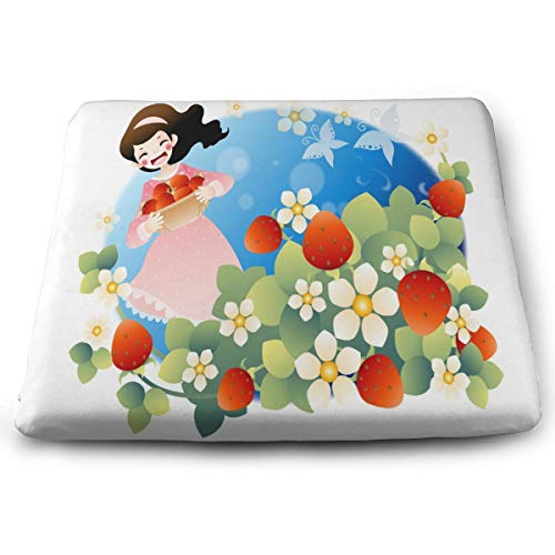 Ladninag Seat Cushion Girl Carrying Strawberry Basket Chair Cushion Designer Offices Butt Chair Pads for Outdoors