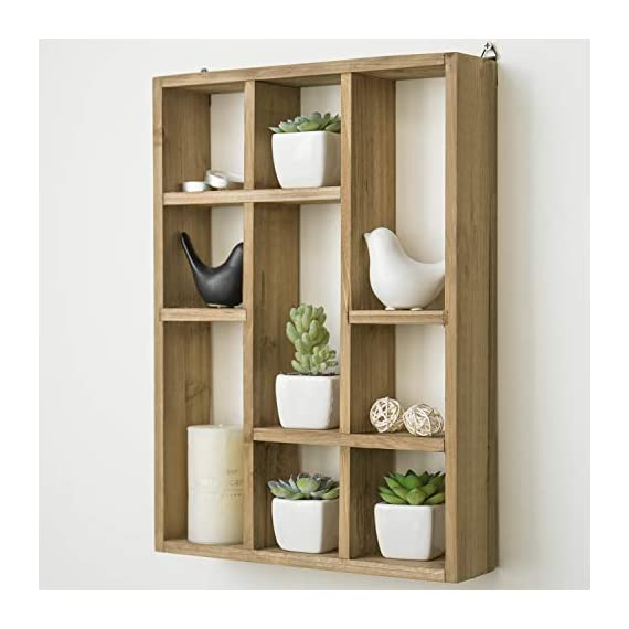 MyGift 15-Inch Wall-Mounted (Vertical or Horizontal) 9-Slot Rustic Wood Floating Shelves/Freestanding Shadow Box, Brown - A freestanding or wall-mounted shelf rack made of sturdy wood with a natural-style finish. Boasts 9 compartments in various shapes and sizes to allow for versatile display options and eye-catching style. Can be set on any counter top or attached to any wall either vertically or horizontally using the appropriate mounting hardware (not included). - wall-shelves, living-room-furniture, living-room - 41fXew1MWKL. SS570  -