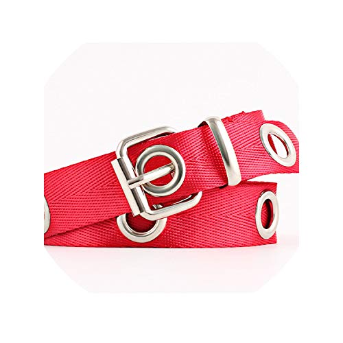 Women Students Canvas Waist Belts Silver Pin Buckle Waistband Fashion Long Personality Casual Metal Ring Wild Belt,Red