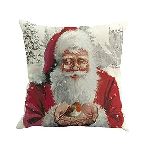 Amazon.com: Funda de cojín, diseño de Papá Noel y muñeco de ...