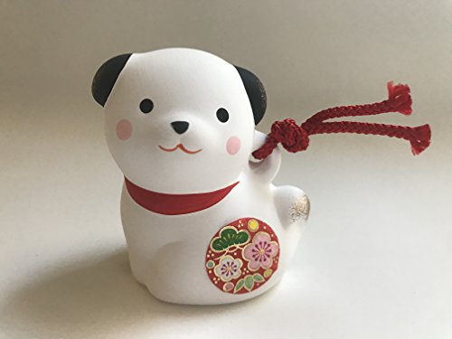 Kotobuki Clay Bell/ornament, Lucky Puppy Dog ,White #830-692 (New Year Bell)