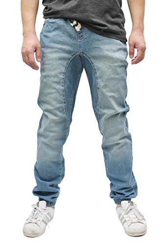 (Americano Men s Vintage Drop Crotch Denim Jogger Pants Denim Jogger Light Indigo Medium)