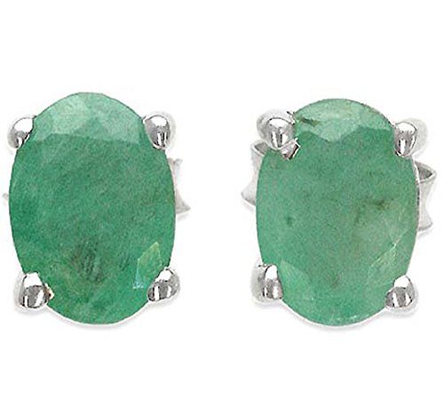 Natural Emerald Earrings (1.95ctw Genuine Emerald 5x7mm Oval & Solid .925 Sterling Silver Stud Earrings)