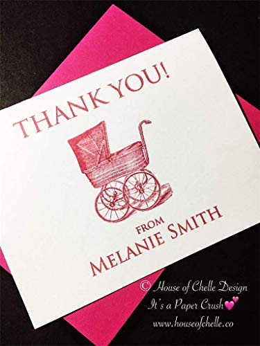 Baby Shower Thank You Cards - Baby Shower Thank You Notes - Personalized Stationery/Stationary - VINTAGE BABY CARRIAGE PINK - Set of 12 Note Cards with Envelopes