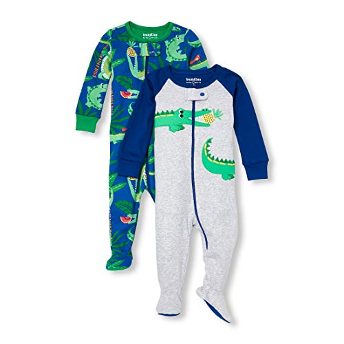 (The Children's Place Baby Boys 3 Pack Novelty Printed Long Sleeve Footed Sleepers, Multi CLR, 12-18MOS)