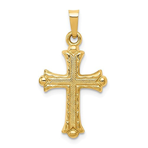 - 14k Yellow Gold Fleur De Lis Cross Religious Pendant Charm Necklace Fine Jewelry Gifts For Women For Her