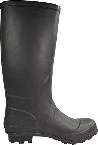 NORTY Frauen Hurrikan Wellie - 14 Feststoffe und Drucke - Glossy & Matte Wasserdicht Hallo-Kalb Rainboots Matt-schwarz