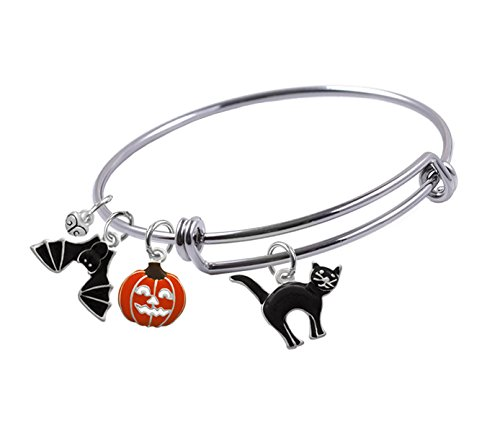 Expandable Bangle bracelet with Halloween Silver Plated, Enameled Black Cat, Halloween Jack O'Lantern Pumpkin, Black Bat and small Heart Charms, (Black Enameled Cat)