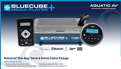 (AQUATIC AV BlueCube+ Bluetooth Media Player w/Handheld & Wired Remote +Ext Cable)