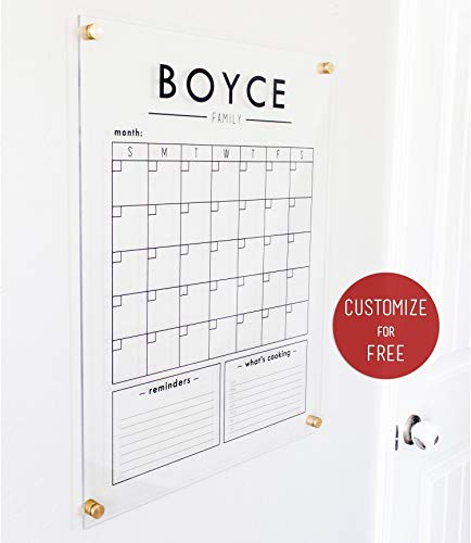 Monthly Calendar Personalized - Custom Clear Acrylic Calendar - 18.5x23 Dry Erase Wall Calendar - dry erase family calendar, 2018 Calendar, personalized gift, planner, family command center