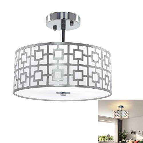DLLT Semi Flush Mount Ceiling Light, 3-Lights Modern Entry Light Fixture Ceiling Hanging with Drum Shade for Bedroom, Dining Room, Kitchen, Hallway, Entry, Foyer, Living Room, Rushed Chrome Finish