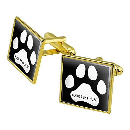 GRAPHICS & MORE Personalized Custom Paw Print 1 Line Square Cufflink Set Gold Color