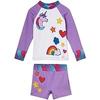 Little Girls Unicorn Swimsuit with Shorts – UPF 50 – Won't Fade – USA Made