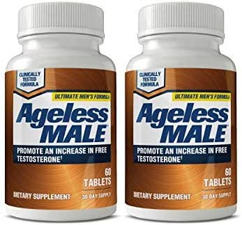 Ageless Male Free Testosterone Booster for Men - Promote Lean Muscle Mass w/Strength Training, Healthy Energy Production, Drive, Stamina, Enhancement, Health Supplement (120 Capsules, 2-Pack)