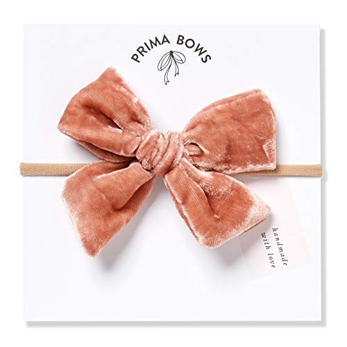 Handmade Mauve Pink Velvet Fabric Bows For Girls, For Newborns Through Toddlers (1 Size Fits All) - Prima Bows (Mauve Pink, Nylon Headband)