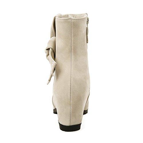 Allhqfashion Women's Imitated Suede Kitten Heels Round Closed Toe Solid Zipper Boots Beige thyOrI