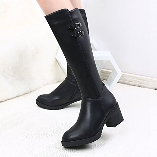 Btrada Womens Over The Knee Thigh High Boots Wide Calf Velvet Studded Chunky Block Heel Zipper Boots Black cIg95HmgA