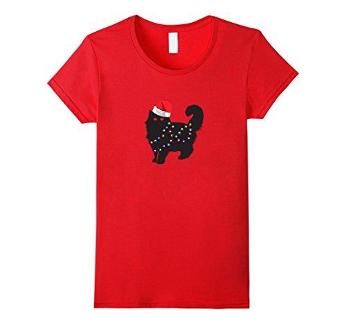 Womens Black Cat Christmas Pajamas Shirt Matching Santa Hat Lights Small (Black And Red Santa Hat)